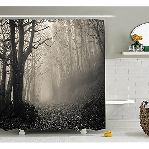 Ambesonne Gothic Decor Collection Path On The Forest Trees Foggy Mysterious Nature Monochrome Art Polyester Fabric Bathroom Shower Curtain Set With