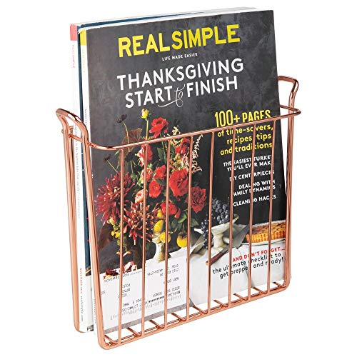 mDesign Decorative Modern Metal Wall Mount Magazine Holder, Organizer - Space Saving Compact Rack for Magazines, Books, Newspapers, Tablets, Laptops in Bathroom, Family Room, Office - Rose Gold (Rack Magazine Gold Metal)