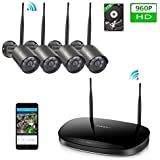 Wireless Security Camera System,Ctronics 8CH Wi-Fi NVR Home Video Surveillance Camera Kit with 4X960P Outdoor&Indoor Waterproof Bullet IP Cams , Motion Detection,Night Vision,Cloud,APP with 1TB HDD