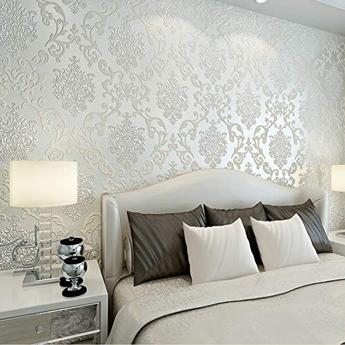 QIHANG European Style Luxury 3D Damask Pearl Powder Non-woven Wallpaper Roll Cream-white Color 0.53m x 10m=5.3㎡ by QIHANG (Image #9)