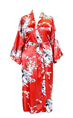 Applesauce 838 - Plus Size Peacock Japanese Women Kimono Sleep Robe, US Size 1X 2X 3X (Ruby ()