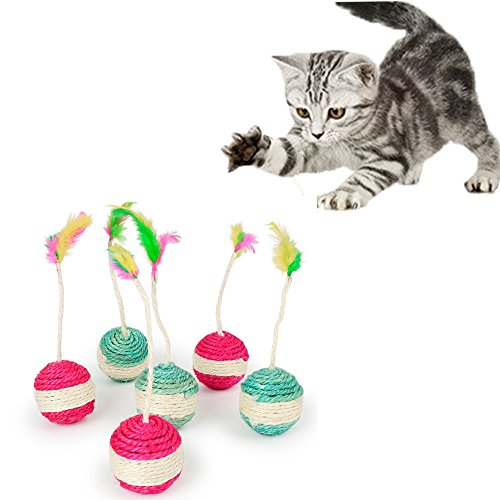 Euone  Cat Toys Clearance, Pet Kitten Toy Rolling Sisal Scratching Cat Toy Funny Kitten Play Dolls