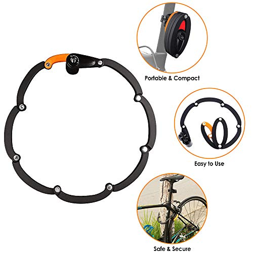 WOTOW Bike Foldable Lock, Bicycle Folding Lock Collapsible Metal Chain Cable Safety Lock with 3 Keys with Storage Mounting Bracket Reflective Sticker for Mountain Road City Bike Unfolds to 35