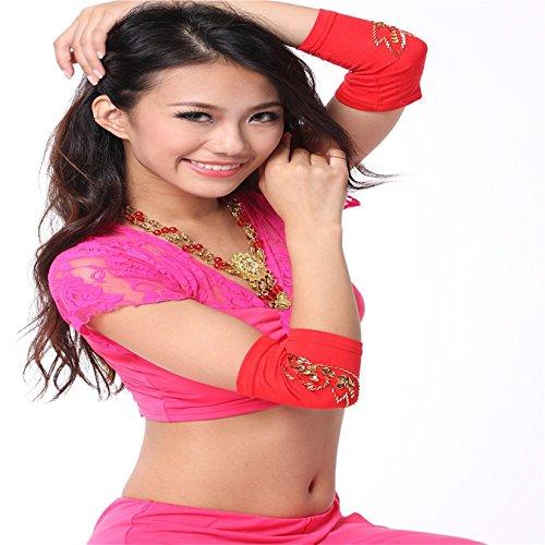 Danza del Vientre danza perlas de mangas–Tensiómetro de brazo con disfraz 18cm Rojo