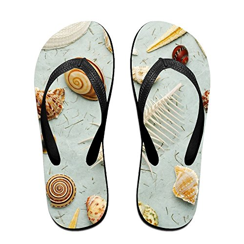 Fresh Sandals Thong Couple Slippers Black Slip Chic Print Rubber Pattern Slipper Seashell Beach Unisex Non Flip Flops p6UEwz6nqr