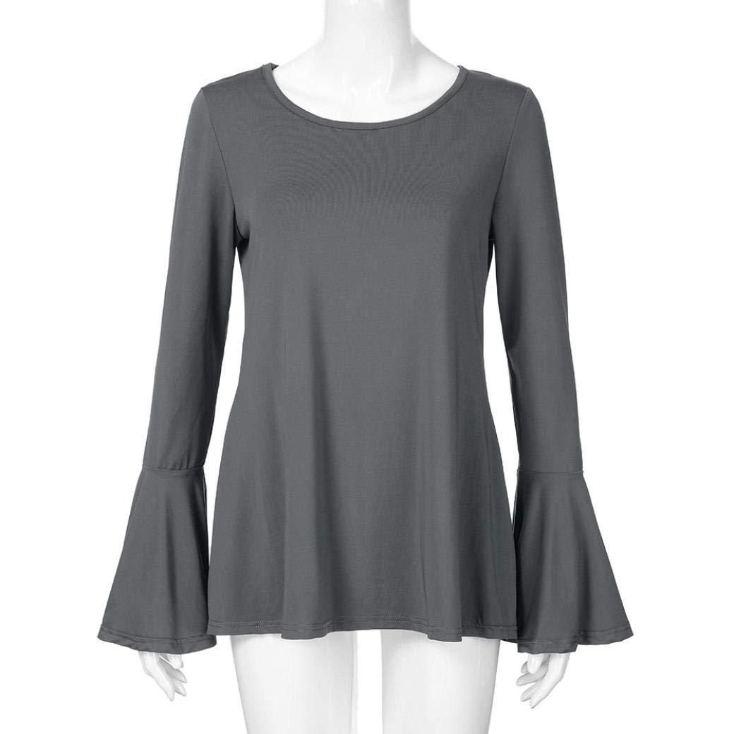 Moda 2018 Mujeres De Cuello EN O Manga Larga De Color Solido Polyester De Las Camisas Blusa del Dobladillo Irregular: Amazon.es: Ropa y accesorios