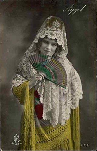 Woman Holding Fan Women Original Vintage Postcard