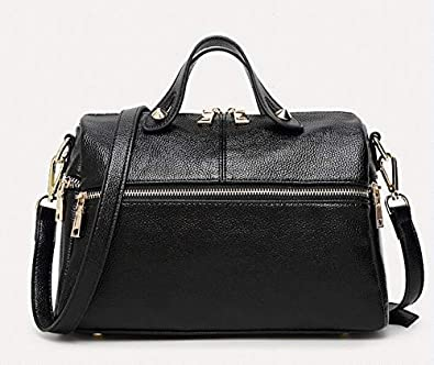 bedcc44eda Amazon.com  brand women handbag genuine leather tote bag female classic  serpentine prints shoulder bags ladies handbags messenger bags N057 Color  Black  ...