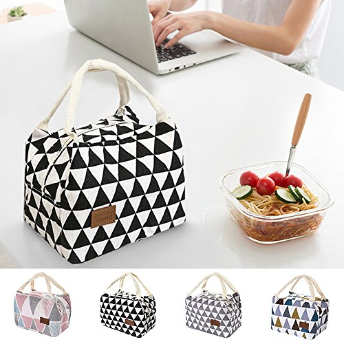 Zone Work Compartment Dual (LtrottedJ For Women Kids Men Insulated Canvas Box Tote Bag ,Thermal Cooler Food Lunch Bags (B))