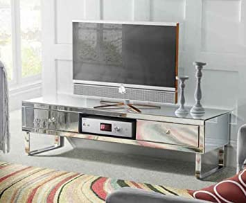 venetian mirrored tv stand large glass furniture living amazon co