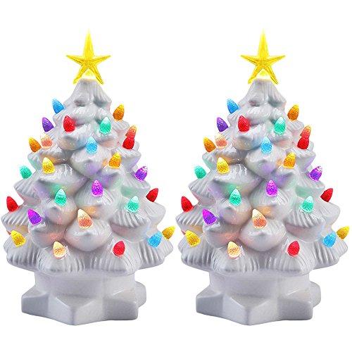 "(Mr. Christmas (2 Pack 7"" Porcelain Christmas Tree Decoration Color LED Lights, Tabletop Holiday Décor)"