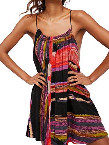 CA Mode Women Multicolor Striped Summer Beach Trapeze Slip Dress,Black,Small
