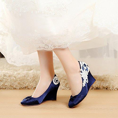 Wedges YOOZIRI EU38 Blue Ivory inch Keilschuhe Heels Lace with Schuhe Wedding Medium Hochzeit Dark Blau Wedge 3 5 r0Tvqr