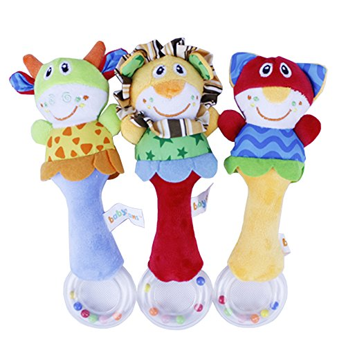 2 Pcs Baby Toy Lovely Soft Hand Bells Animal Model Long Handbell (Tag Along Chimes)