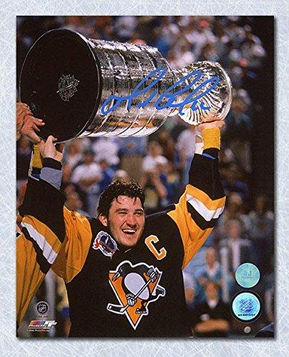 Mario Lemieux Signed Photograph - 1991 Stanley Cup 8x10 - Autographed NHL Photos