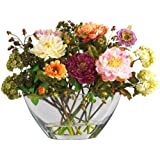 Nearly Natural 4668 Peony with Glass Vase Silk Flower Arrangement, Mixed