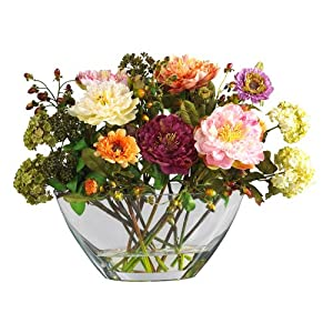 Nearly Natural 4668 Peony with Glass Vase Silk Flower Arrangement, Mixed 118