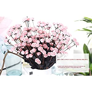 Yu2d  Artificial PE Fake Flowers Rose Floral Wedding Bouquet Bridal Hydrangea Decor (White Pink Blue Gray red Yellow hot Pink Purple) 4