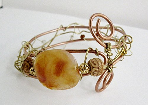 Copper Brass Bracelet Bangle Slip On Wire Wrapped Amber Bead