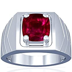 Platinum Cushion Cut Ruby Ring
