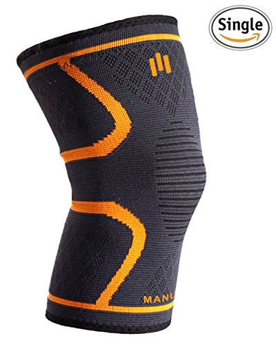 Knee Support Compression Sleeve Brace for Running, Arthritis, Joint Pain Relief, Women, Youth, Men, Workout, Squats, Powerlifting, Crossit, Basketball, Five Sizes, Large (Large)