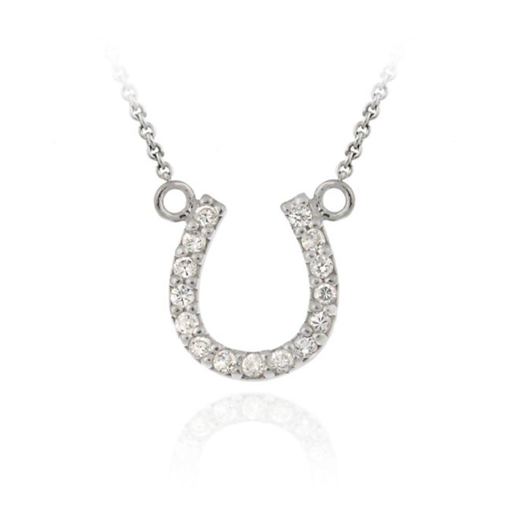 Sterling Silver Designer-Inspired CZ Horseshoe Necklace  Amazon.co.uk   Jewellery 0394c1b5410b