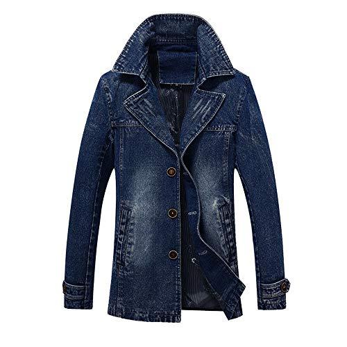 MODOQO Men's Denim Jacket Long Trench Button Slim Coat Winter Warm Outwear(Blue,4XL)