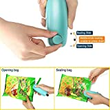 Handheld Heat Sealer, LIXUXU 2 in 1 Handheld Portable Heat Sealer Bag Cutter and Resealer for Plastic Bags Food Storage Resealer with Safety Lock (Green)