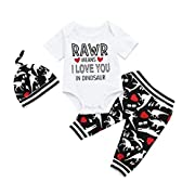 Rucan Hot Sale Toddler Baby Boys Short Sleeve Letter Romper+Dinosaur Pants+ Hat Clothes Set (0-3 Months)