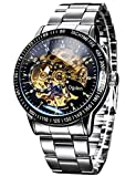 Carrie Hughes Men's Steampunk Automatic Watch Self-winding Skeleton Mechanical Stainless Steel Silver 88226G1