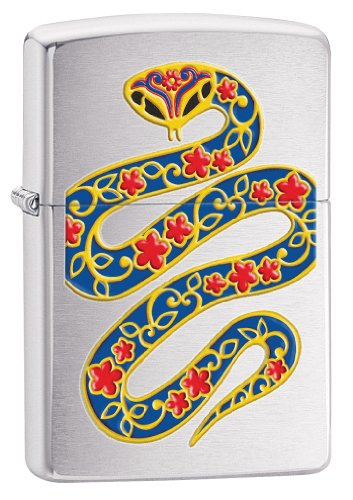 Zippo Year of The Snake 2013 Pocket - Zippo Brushed Lighter Silver