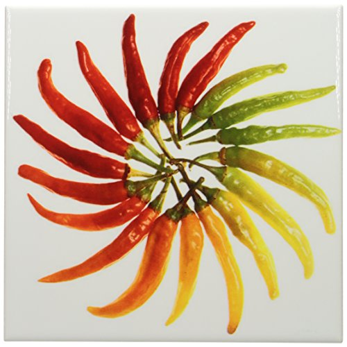 3dRose ct_46855_3 Red Hot Chili Peppers Chili, Chili Pepper, Chilli, Chilli Peppers, Pepper, Peppers, Red Ceramic Tile, 8-Inch