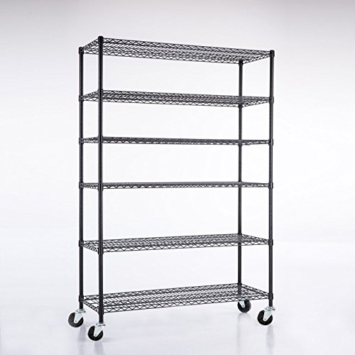 Black heavy duty layer steel shelf adjustable 82 inch x46 inch x18 inch 6 tier wire shelving rack