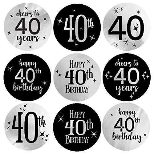 (Black and Silver 40th Birthday Party Favor Labels | Shiny Foil | 180 Stickers)