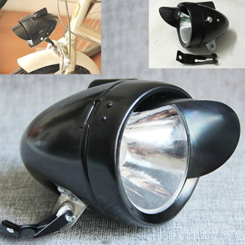 Motor-acc Classical Bright Metal Chrome Silver / Black Vintage Bicycle Bike Headlight Retro LED Light Cycling Fog Front Head Lamp Night Riding Safety With Bracket (Black)