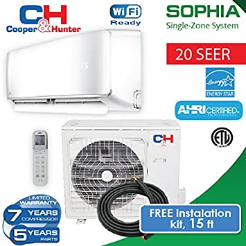 COOPER AND HUNTER Sophia Mini Split Heat Pump up to 22.8 SEER with Free Copper 15ft 24 BTU 230 V