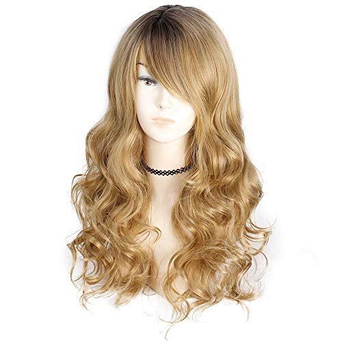 - AISI QUEENS Long Curly Wig for Women Ombre Blonde Wigs Dark Roots with Bangs Middle Part Wig Black to Brown Wavy Hair Wigs 22 Inches Layered Wig