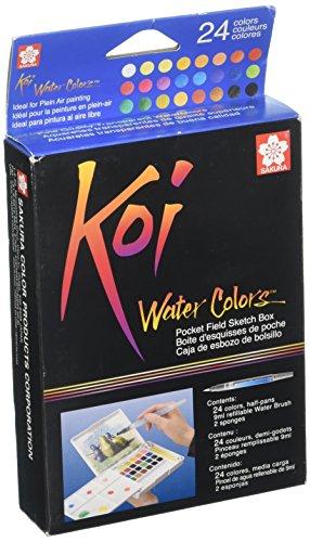 Watercolor Pocket Box - Koi Water Colors Pocket Field Sketch Box W/Brush-2 (Pack Of 1)