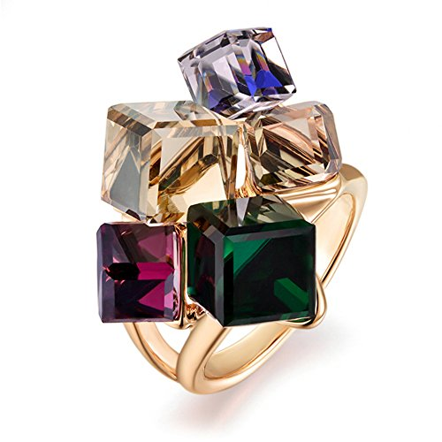 dnswez Rose Gold Plated Multi-Color Crystals Cluster Statement Cocktail Ring for Women(10)
