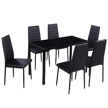 vidaXL Conjunto de Comedor 7 Piezas Negro Mesa Sillas Muebles Cocina Acolchado