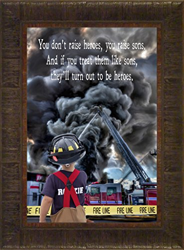 Sons and Heroes By Todd Thunstedt 23.5x17.5 Patriotic Fighting Wild Fire Son Child First Responder American Fireman Firefighter Firefighter's Association Backdraft Emergency Medical Hazmat Pumper Helmet Boots Engine Red Fireboat Halligan Bar Chief Hydrant Station Extinguisher Blaze Military Hose Forest Water Smokey the Bear Aerial Ax Framed Art Print Wall Décor Picture - Fallen Heroes Memorial