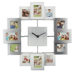 Timelike DIY Frame Clock, 12 Picture Aluminum Photo Frame Wall Clock Modern Design Unique Home Decor - Make Your Own Multi-Photo Clock (Silver)