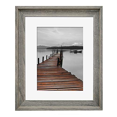 Eosglac Rustic 11x14 Picture Frame Matted to 8x10, Wooden Frames Weathered Gray (11x14 Frame Distressed Wood)