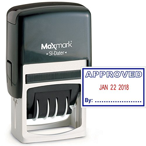 Signature Date Stamp - MaxMark Office Date Stamp with Approved Self Inking Date Stamp - Blue/RED Ink