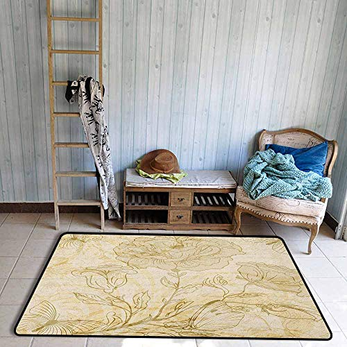 - Outdoor Patio Rug,Beige Various Sized Flourishing Roses and Butterflies Spring on Grungy Background Retro,Anti-Slip Doormat Footpad Machine Washable,3'11