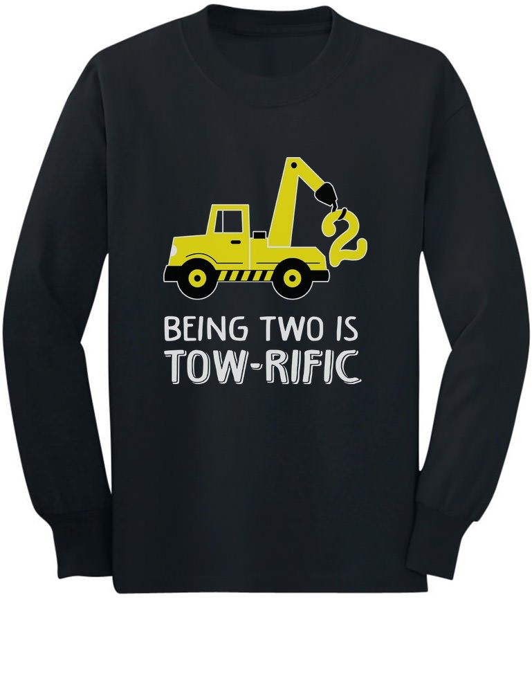 2nd Birthday Tractor Construction Party Toddler Kids Long Sleeve T Shirt 2T Black