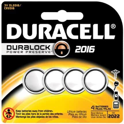 Duracell 66389 3-Volt & No. 2016 Lithium Keyless Entry Battery, 4 Pack