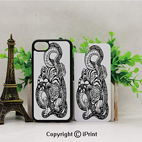 Cellphone Case,Tattoo-Style-Scene-of-Two-Animals-Fighting-Long-Snake-with-Sublime-Large-Cat-Battle,Suitable for iPhone7 iPhone8