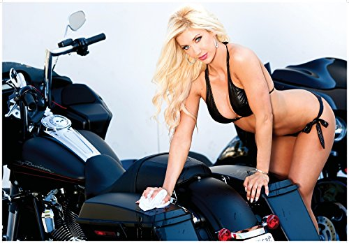 Harley Davidson Giant Poster Bike Wash with Pin Up Model