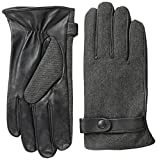 Phenix Cashmere Men's Twill Glove, Grey/Black, Medium